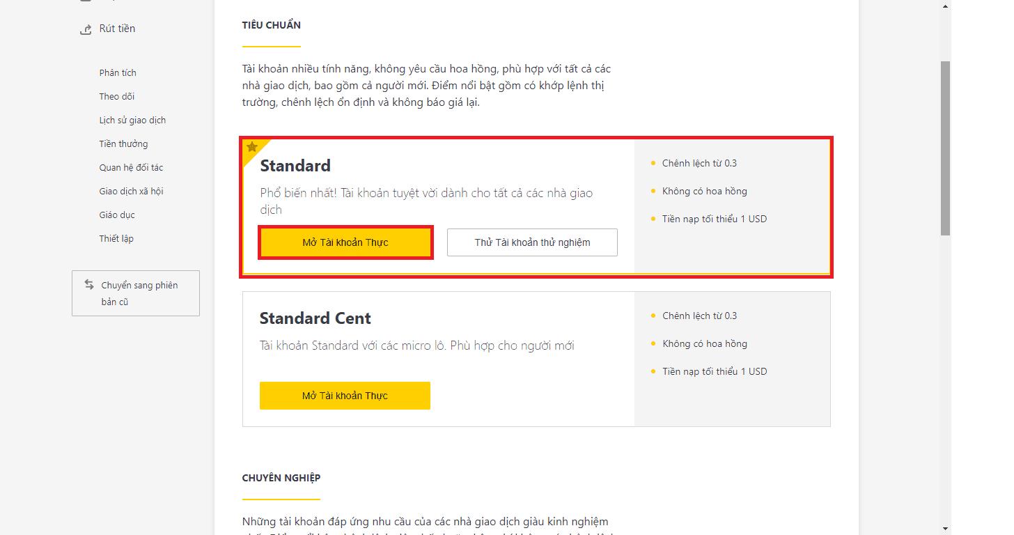 hướng dẫn mở tài khoản standard sàn exness